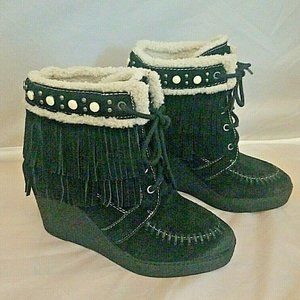 Black Suede Double Fringed Wedge Booies